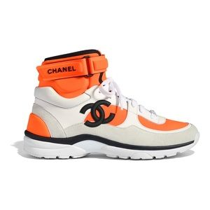 CHANEL Shoes - Chanel White Orange CC Logo High Top Sneaker
